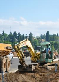 Construction on Langer Farms Parkway